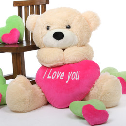 Cozy Love Cuddles with Big I LOVE YOU Heart Cream Teddy Bear 38in