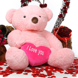 Gigi Love Chubs with I LOVE YOU Heart Huge Pink Teddy Bear 55in
