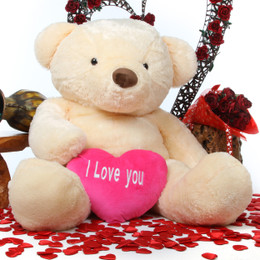 Smiley Love Chubs with I LOVE YOU Heart Cream Teddy Bear 55in