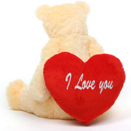 Tiny Heart Tubs with I LOVE YOU Heart Cream Teddy Bear 32in