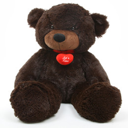 Brownie L Cuddles Lets Kiss Necklace Dark Brown Teddy Bear 24in