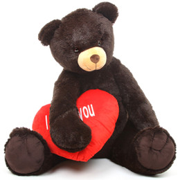 Baby Heart Tubs I LOVE YOU Heart Chocolate Brown Teddy Bear 42in