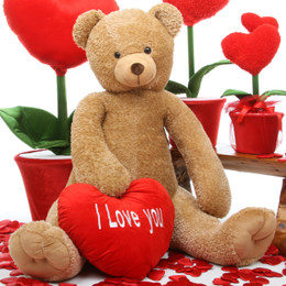 Honey Heart Tubs with I LOVE YOU Heart Amber Teddy Bear 48in