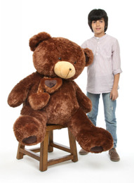 Lucky Hugs Big Cuddly Chestnut Brown Heart Teddy Bear 45in