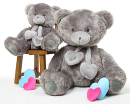 Angel Hugs Soft Plush Silver Grey Heart Teddy Bear 45in