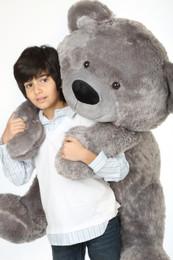 Diamond Shags Big and Adorable Rich Silver Teddy Bear 48in