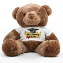Captivating Big Chubs Personalized Mocha Brown Graduation Teddy Bear 38in