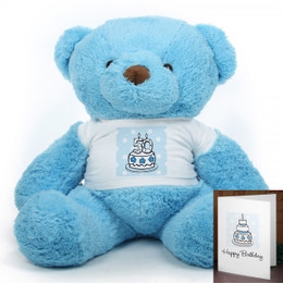 Blue Birthday Cake Chubs teddy bear 38in