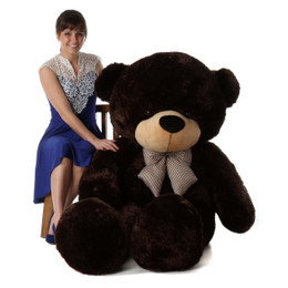 Tall dark handsome and cuddly 72in life size giant teddy bear Brownie Cuddles dk brown fur