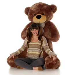 Sunny Cuddles Soft and Huggable Jumbo Mocha Brown Teddy Bear 60in - One of the Biggest Teddy Bears!