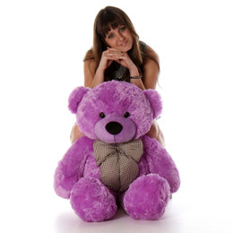 DeeDee Cuddles Adorable Lilac Plush Teddy Bear 38 inches