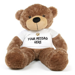 Sunny Cuddles Mocha Brown Personalized Teddy Bear 48in with Paw Stamp T-shirt