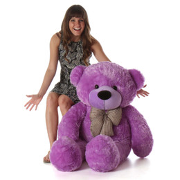 48in huge purple teddy bear DeeDee Cuddles is so soft and snuggly with beautiful fur