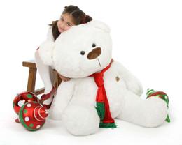 Waldo Holiday Shags Plush White Christmas Teddy Bear 45in