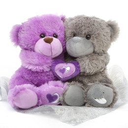 18in Purple and Silver Teddy Bear package Ultimate Soulmates