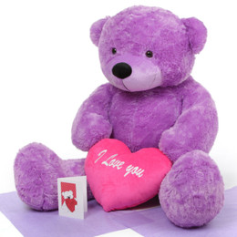 Giant True Love Bear Hug Care Package with DeeDee Cuddles Purple 48in