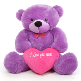 DeeDee M Cuddles Lavender Purple Teddy Bear with I Love You Mom Heart 48in