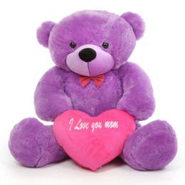 DeeDee M Cuddles Purple Teddy Bear with I Love You Mom Heart 48in