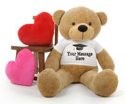 4ft Life Size Amber Teddy Bear Shaggy Cuddles Personalized Graduation Teddy Bear