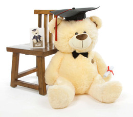 BooBoo G Shags Vanilla Graduation Teddy Bear with Cap and Diploma 35in