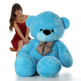 72in Happy Cuddles Blue Teddy Bear