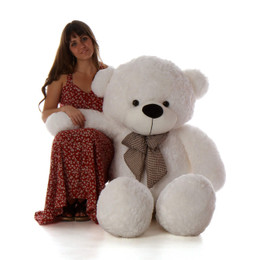 5ft Life Size Teddy Bear Coco Cuddles giant cuddly white teddy bear