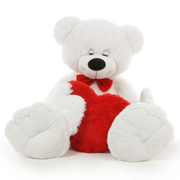 Big White Teddy Bear with Heart, Dazey Mittens 3 1/2 feet, Valentine's Gift