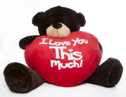 Brownie Cuddles Valentine's Day Teddy Bear with Jumbo Heart - I Love You This Much - 5 Feet Really Big Teddy Bear