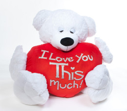 I MISS You THIS Much/I LOVE You This Much- 4 1/2 ft Paw Mittens - Unique Valentine's Day Teddy Bear with Heart - Big Teddy Bear