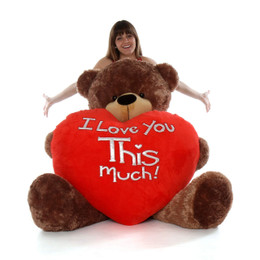 Sunny Cuddles with World's Largest - I Love You THIS Much - Big Teddy Bear Heart - 5 Feet Tall Valentines Teddy Bear - Mocha