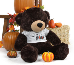 Brownie Cuddles Giant Halloween Teddy Bear in a Spooky Boo! Bear T-shirt 30in