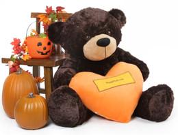 Brownie Cuddles Halloween Bear with Orange Happy Halloween Heart 48in