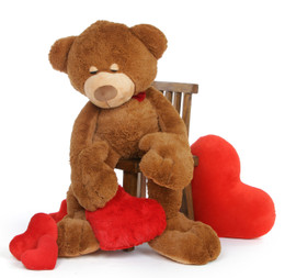 4 1/2 feet, Chester Mittens Unique Teddy Bear with Heart, Giant Caramel Teddy Bear Hug Pillow
