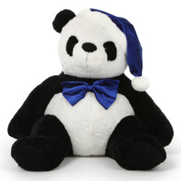 Mama Xin, Adorable Christmas Giant Panda Bear in Blue Santa Hat and Bow Tie 36in