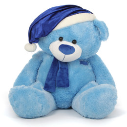 Marty Shags Light Blue Giant Christmas Teddy Bear in Blue Santa Hat 35in