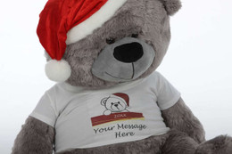 Personalized Big Silver Christmas Teddy Bear in Red Santa Hat, 35in Diamond Shags