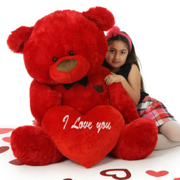 Red Hot Valentine's Day Giant Teddy Bear with Bow Tie and I Love You Plush Heart Randy Shags 45in