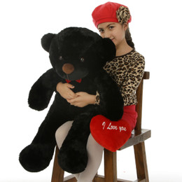 """Sweet Juju Cuddles 30in Black Valentine's Day Teddy Bear with Red """"I Love You"""" heart"""