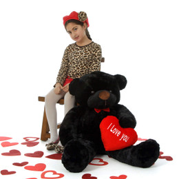 """Loveable Juju Cuddles 38in Black Valentine's Day Teddy Bear with Red """"I Love You"""" heart"""