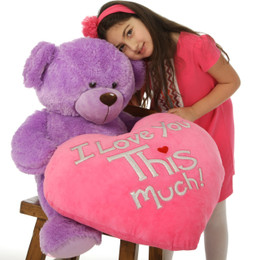 "Adorable 36in Lavender Purple Valentine's Teddy Bear with ""I Love You THIS Much"" plush pink heart"