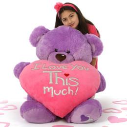 "Sweet 36in Lavender Purple Valentine's Teddy Bear Sewsie Big Love holding ""I Love You THIS Much"" plush pink heart"