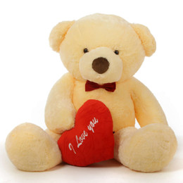 "Romantic and Sweet! 60in Smiley Chubs Teddy Bear for Valentine's Day with big ""I Love You"" hearts"