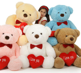 Valentine's Day 38in Chubs Teddy Bears with I Love You heart, in Your Choice of Fur Color