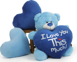 Adorable Big 35in Light Blue Teddy Bear Marty Shags with Huge 'I Love You This Much!' Plush Royal Blue Heart
