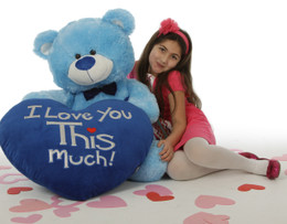 Adorable Big 45in Light Blue Teddy Bear Marty Shags with Huge 'I Love You This Much!' Plush Royal Blue Heart