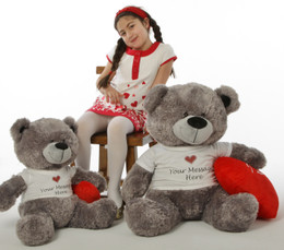 """Beautiful Diamond Shags 3 ft Personalized Valentine's Day Teddy Bear with red plush """"I love you"""" heart pillow"""