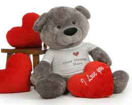 "Stunning Diamond Shags Huge 48in Personalized Valentine's Day Teddy Bear with red plush ""I love you"" heart pillow"