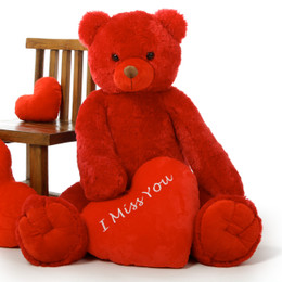Stunning Red Valentine's Day Teddy Bear, Scarlet Tubs 42in, is Perfectly Romantic!