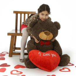 "Fluffy Chocolate Brown Valentine's Day Teddy Bear with red ""I Love You"" heart and bowtie in 4 sizes"