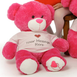Huge Personalized Hot Pink Teddy Bear Cha Cha Big Love 30in